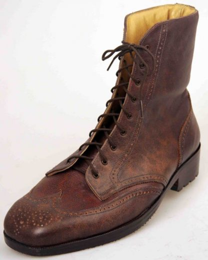 200mm high Derby boots with wing caps and pattern