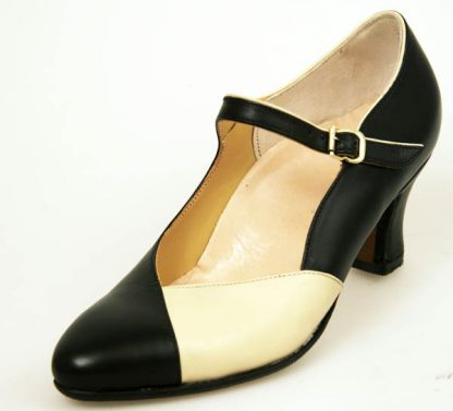 Black strap courts with cream vamp section