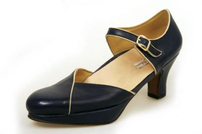 Navy opensided shoes with platform
