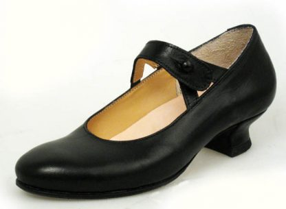 fine black calf split bar button shoe