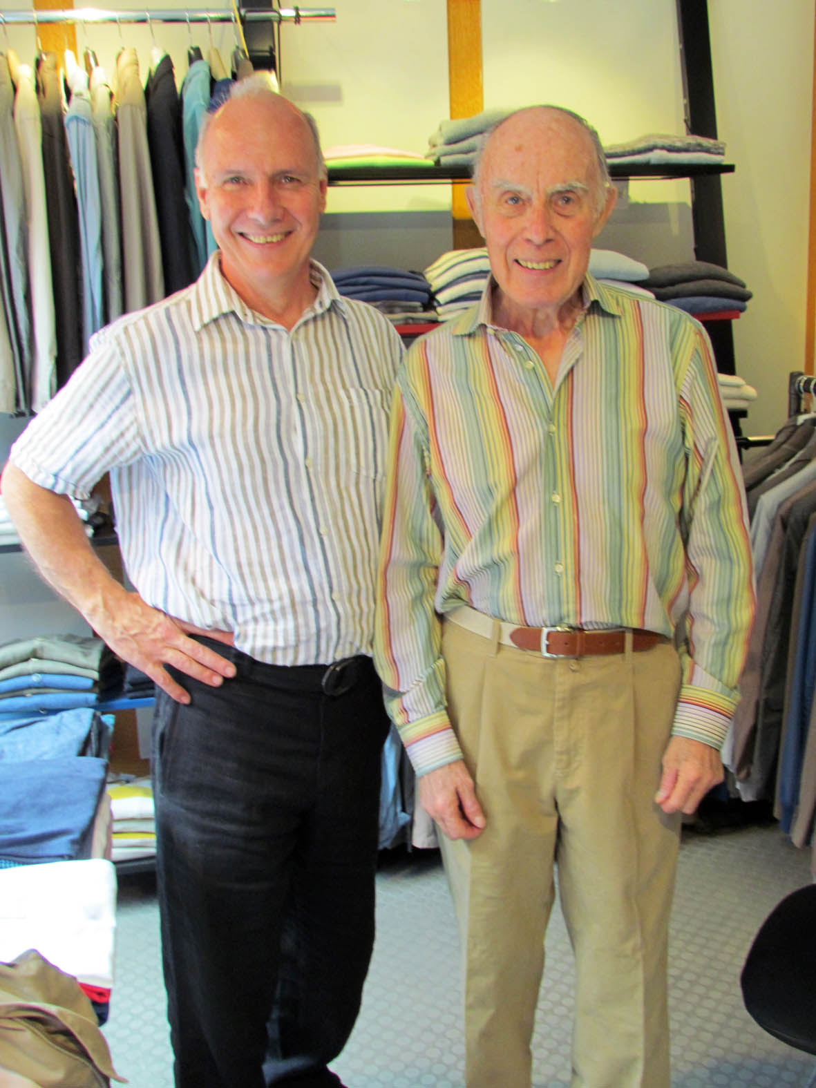 Bill Bird with David Graham - alias Parker, Grandpa Pig and Wise Old Elf - at Bill Bird Shoes' fitting room in Grey Flannel London