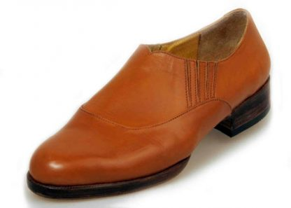 Elastic sided slip on shoes tan