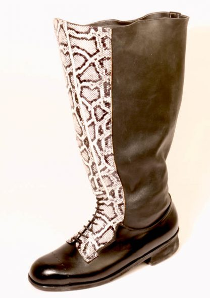 Knee length, snake skin fronted, elasticated legged boots
