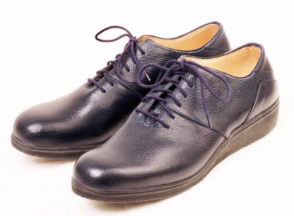 Navy grain trainer style shoes