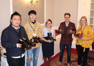 The David Xavier Student Bespoke Shoemaking Award entrants with their shoes.