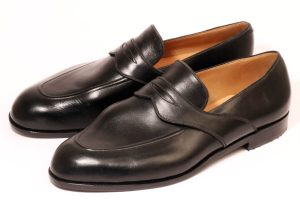 Bespoke Black Penny Loafers for Bunions from Bill Bird Shoes in the Cotswolds