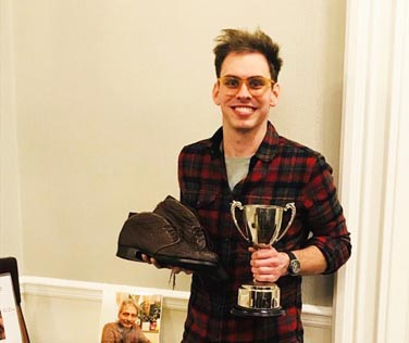 Apprenetice shoemaker George Paish from Bill Bird Shoes in the Cotswolds scoops prestigious award