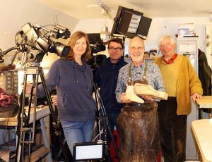 Filming at Bill Bird's workshop in Moreton in Marsh: (left to right) Lynwen and David Brown from Artisan Media with Bill Bird and Richard Paice, Past Master of the Worshipful Company of Pattenmakers and member of the Pattenmakers Company Charitable Foundation.