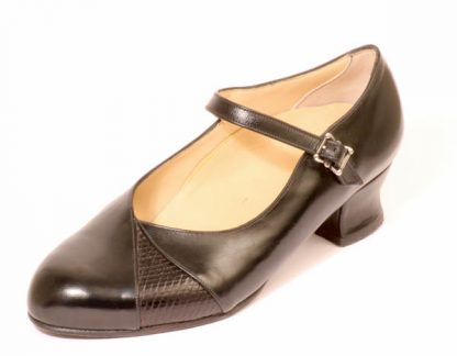 Womens strap courts with lizard inlay for bunions