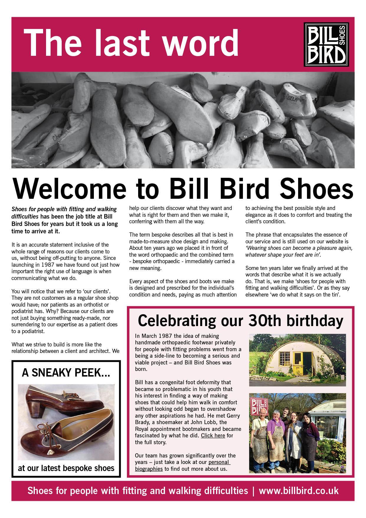 Bill Bird Shoes newsletter