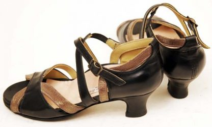 Contrast straps peep toes back