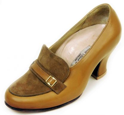 Elastic on Instep with apron and buckle higher heel