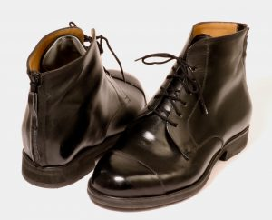 These boots were handmade with zips up the back for a man with bi-lateral rigid ankle foot orthoses which limit bending and therefore ease of entry into conventional boots.