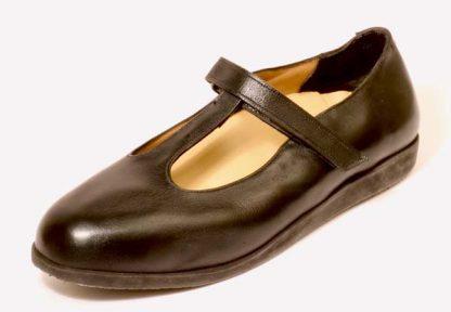 Ladies T-bar velcro shoes for metatarsalgia