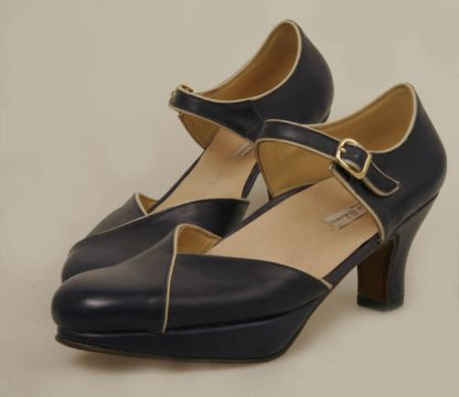 navu with cream trim bespoke court shoes with platform