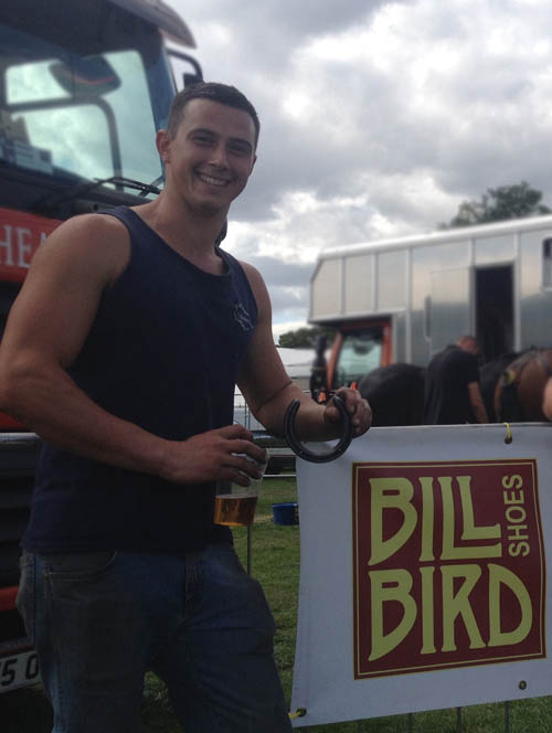 Moreton Show horse shoemaking winner Sam Wilkes – his prize was sponsored by Bill Bird Shoes bespoke shoemakers in the Midlands