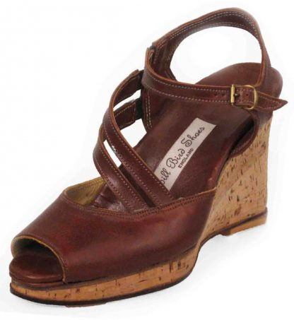 cork platform strappy shoes