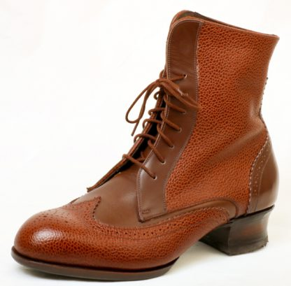 Scotch Grain Derby Ankle Boot with Willow Calf contast colour stacked Louis Heel