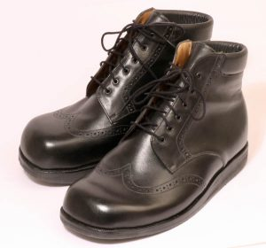 Handmade laced Derby boots from Bill Bird's bespoke shoemakers for leg length discrepancy and lateral ankle weakness