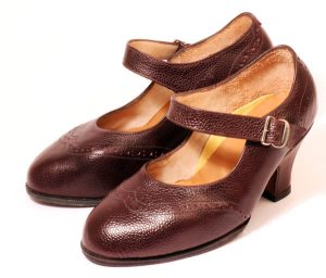 These handmade strap court shoes from Bill Bird Shoes have covered breasted heels. They were made for a young woman, who has very severe rheumatoid disease. The shoes do a lot to hide this and give her a lot of pleasure and comfort.